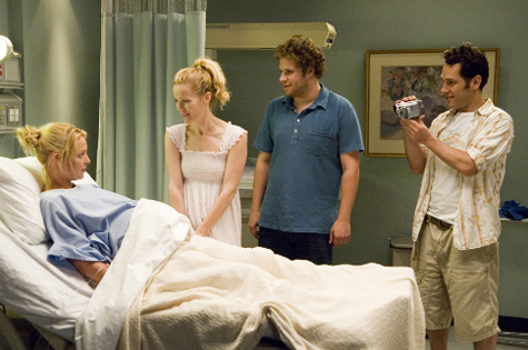 Katherine Heigl, Leslie Mann, Seth Rogen and Paul Rudd in Knocked Up (2007)